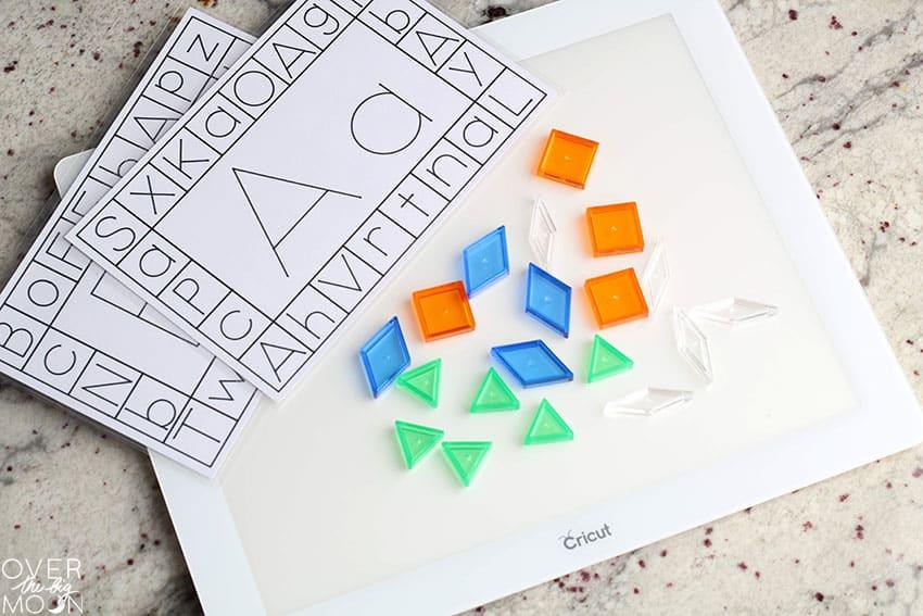 Alphabet Learning Cards on Cricut BrightPad.