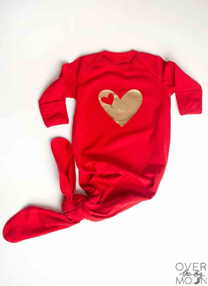 Cute Heart Knot Nightgown perfect for a Valentine's Day baby! From overthebigmoon.com!