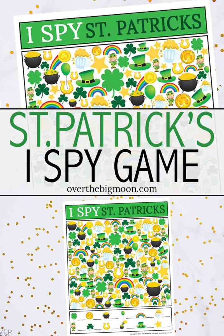 This kids St.Patrick's Day I Spy Printable Game is such a fun activity for kids to play on St. Patrick's Day! Just print and play! So simple! From overthebigmoon.com!
