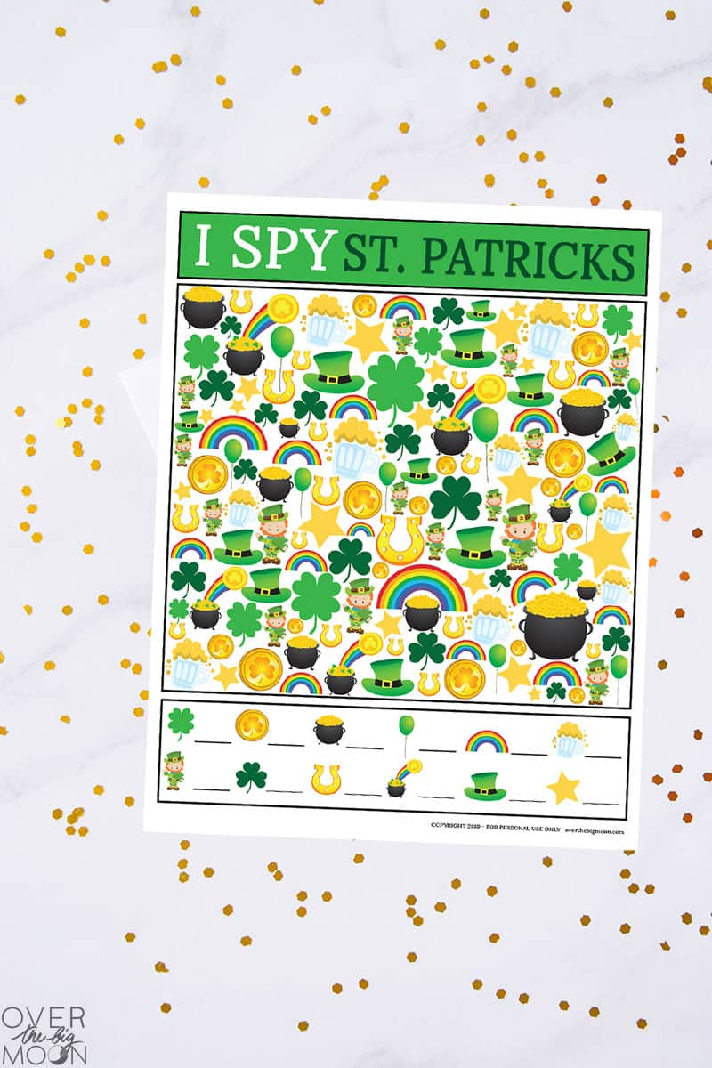 photograph about St Patricks Day Printable named St. Patricks Working day I Spy Video game About The Massive Moon