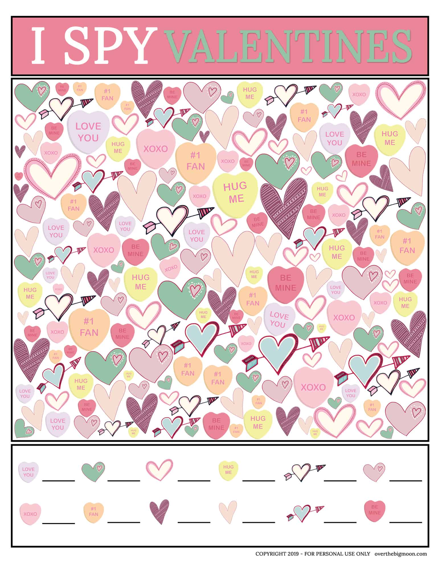 image relating to I Spy Printable called Valentines Working day I Spy Printable Video game Higher than The Large Moon