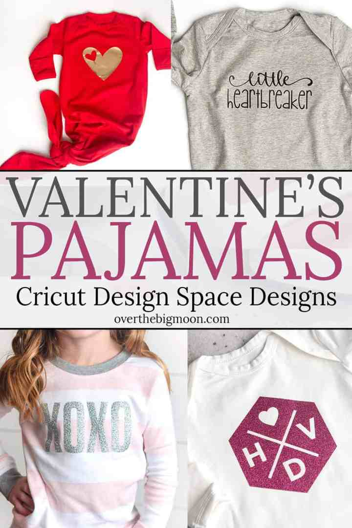 Five Valentine's Day Pajama's -- 9 total designs available for you to make with your Cricut! They are so cute and fun! The perfect way to help celebrate Valentine's Day! Also, learn about weeding using the Cricut BrightPad! From overthebigmoon.com!