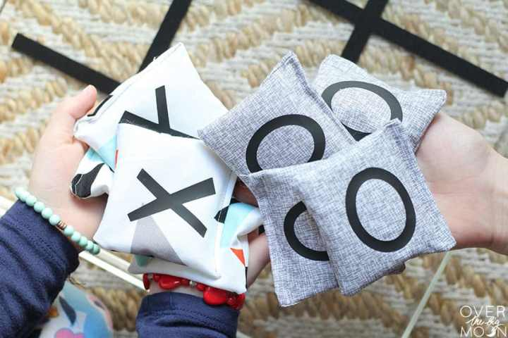 X and O Bean Bags for Tic Tac Toe Game!