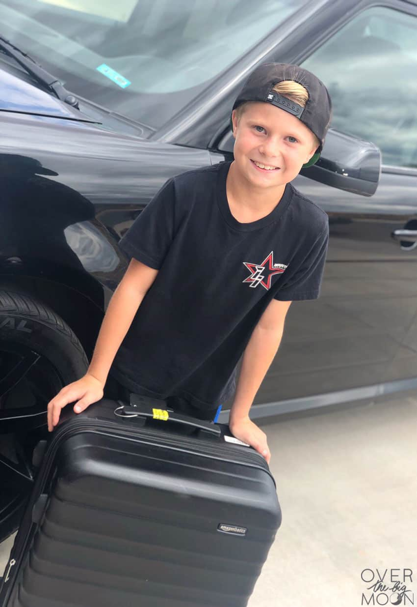 Little Boy ready to leave on a road trip!