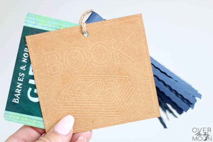 Book Money Gift Tag made using the Debossing Tip and the Cricut Maker.
