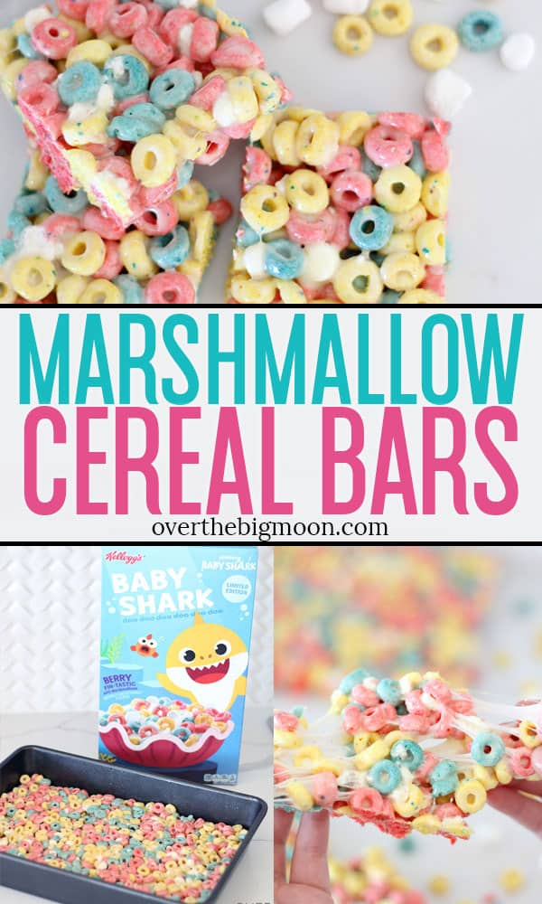 These Marshmallow Cereal Bar Treats are too fun! Made with the Baby Shark Cereal! This fun, sweet treat is loved by kids! From overthebigmoon.com!