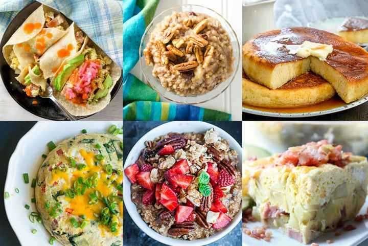 A picture showing six different Instant Pot Breakfast Recipes.