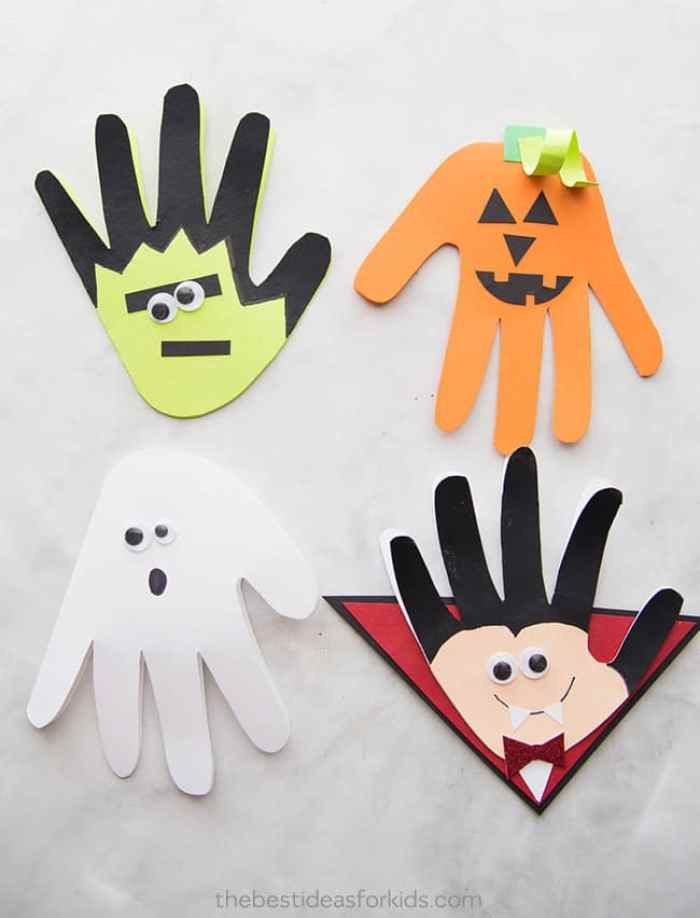 Halloween Hand Crafts to look like Frankenstein, a pumpkin, ghost and Vampire!