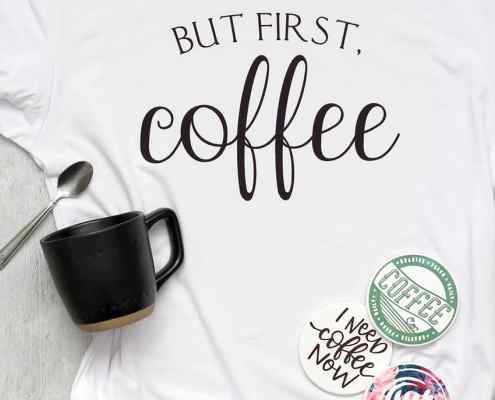 """A white shirt that says """"But first, coffee"""" on it. With a black coffee mug and spoon and 4 coasters!"""