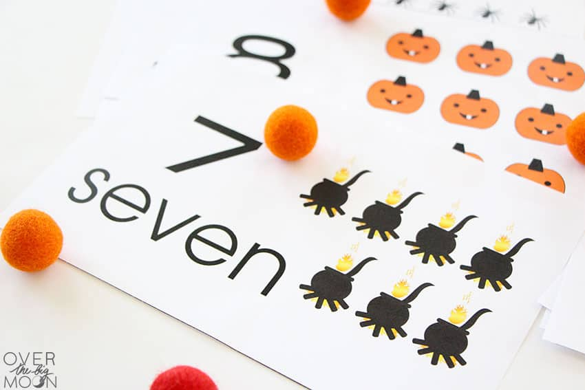 A few Halloween Counting Cards with the #7 card showing and the #8 card under it.