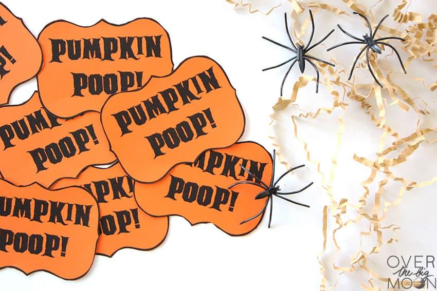 Pumpkin Poop tags printed and cut out.