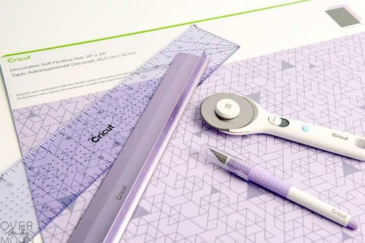 Purple Hand Tools from Cricut - cutting mat, rulers and true control knife. Part of the Cricut Gift Guide.
