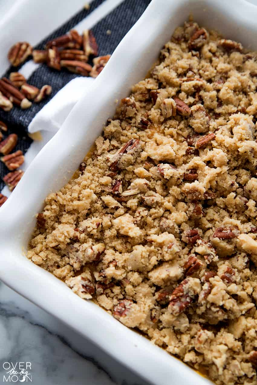 Sweet Potato Casserole with a Crumble topping.