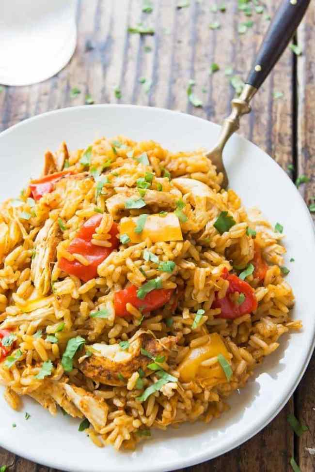 Cajun Chicken and Rice made in the Instant Pot in a white bowl.