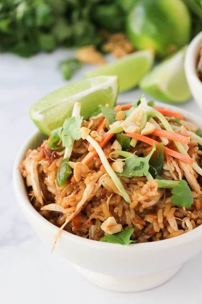 Thai Chicken Rice Bowl made in the Instant Pot, garnished with lime.