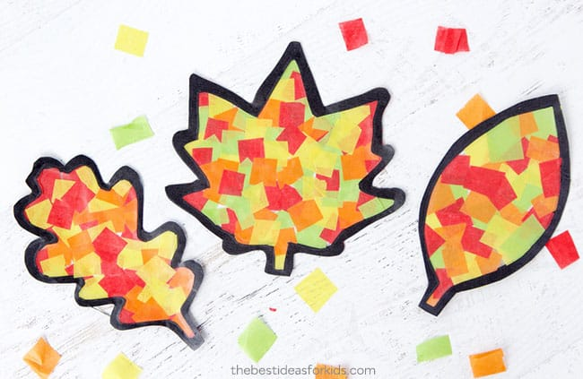 3 Leaf Kids Crafts made from cardstock, tissue paper and saran wrap.