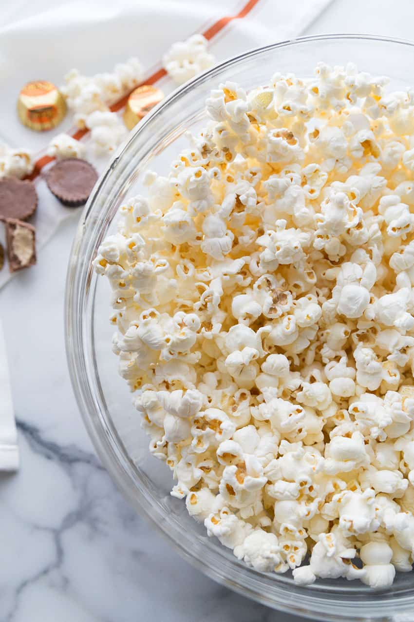 A bowl of popped popcorn.
