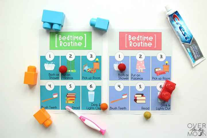 Two versions of the Bedtime Routine printables -- one blue and green and one pink and purple. Each shows 6 different steps to get ready for bedtime.