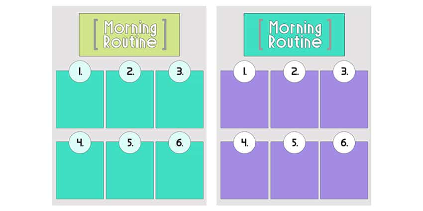 Samples of the blank morning routine printables in turquoise and purple.