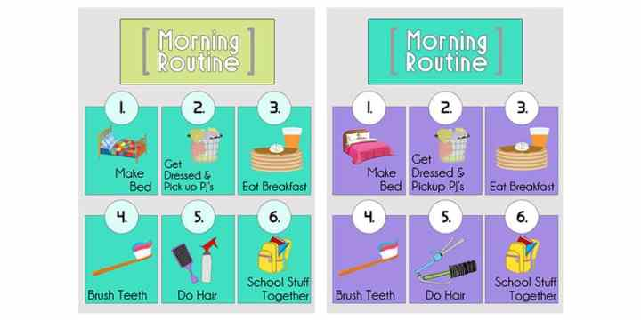 Samples of the completed Morning Routine Printables in turquoise and purple.