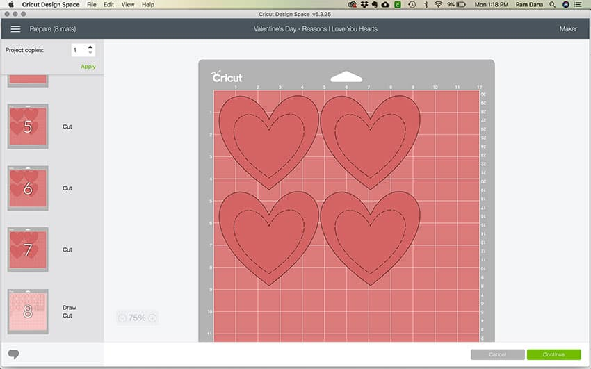 A screenshot showing the different mats getting ready to cut with the Cricut. Mat previews are on the left and a close up of mat 1 is big, showing 4 hearts.