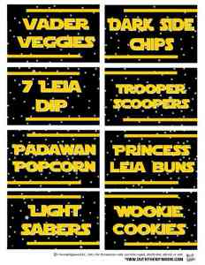 Sample of Star Wars food pun printable labels.