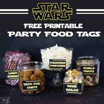 A Star Wars Party Food table with a bunch of Star Wars themed food and treats.