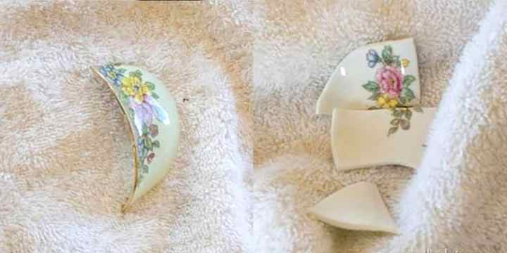 A side by side comparison of a piece of china in a big piece and then broken into multiple pieces.