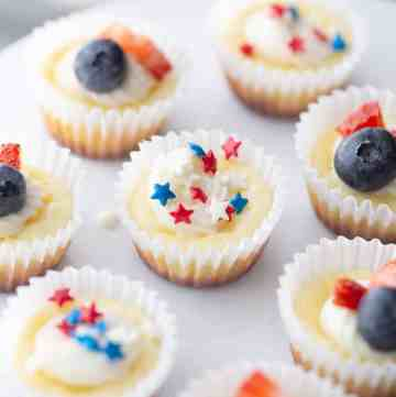 Mini Cheesecakes decorated for the 4th of July
