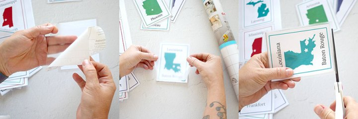 A step by step picture showing how to apply the clear laminate to each flashcard.