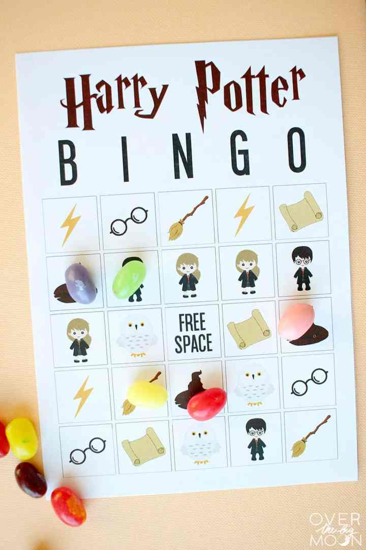 Harry Potter Bingo Card up close with jelly bean markers on it.