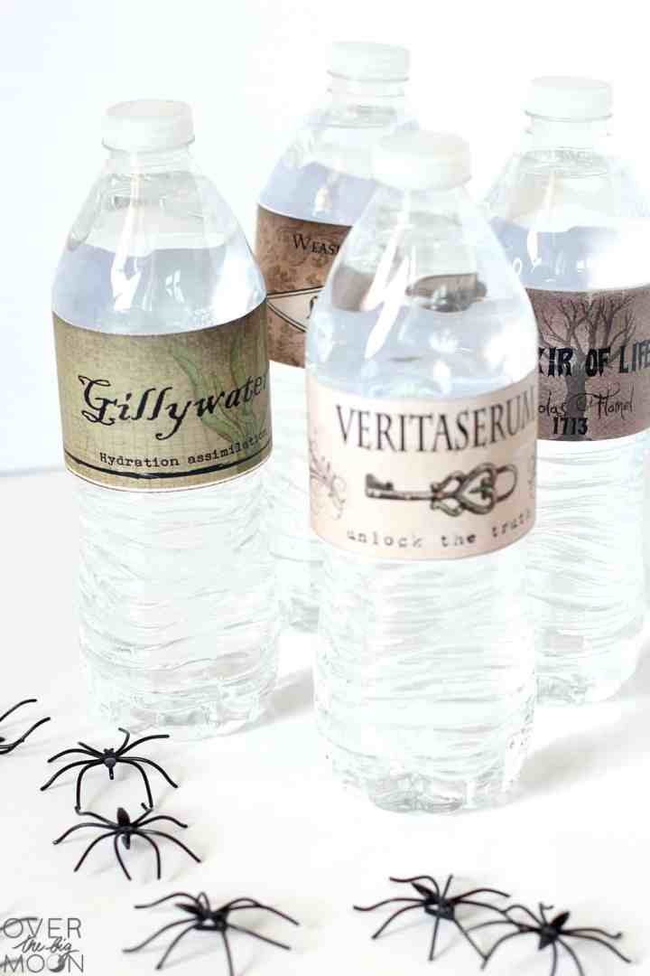 4 Water Bottles with Harry Potter drink labels wrapped around them and some fake spiders staged in front of them.