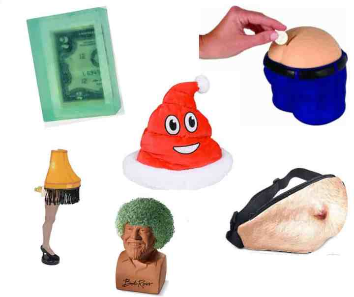 A preview of funny white elephant gift ideas -- money soap, Leg Lamp, Chia Bet, Beer Belly Fanny Pack, Poop Emoji Santa Hat and Bum Crack Money Bank.