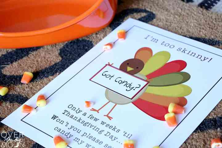 A printable of a skinny turkey asking for candy, next to an empty orange bowl.