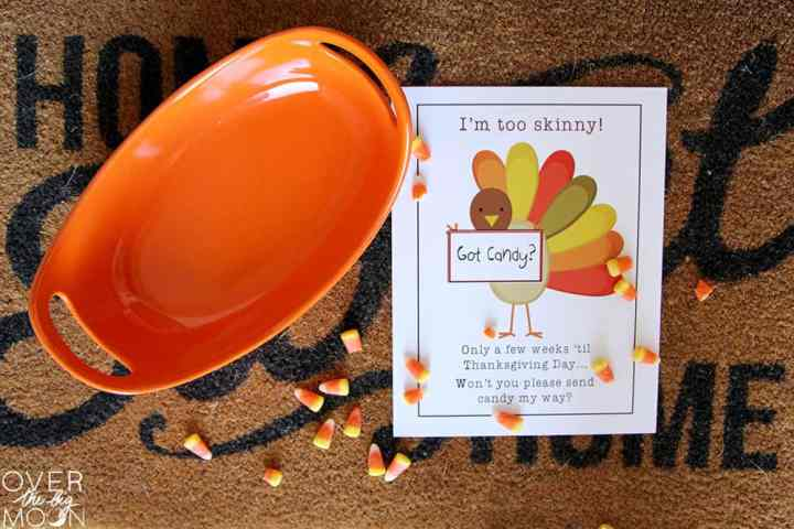 Printable with a skinny turkey on it asking for kids to feed him to fatten him up for Thanksgiving. Next to the printable is an empty bucket.