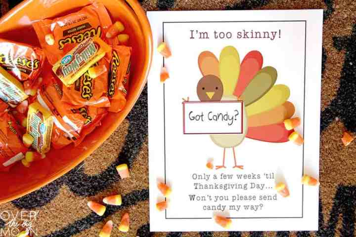 Printable with a skinny turkey on it asking for kids to feed him to fatten him up for Thanksgiving. Next to the printable is a bucket of candy.