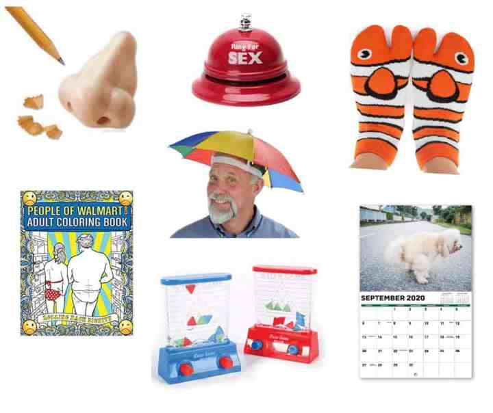 Collage of white elephant gift ideas -- nose pencil sharpener, coloring book, sex bell, umbrella hat, water game, fish socks and calendar.