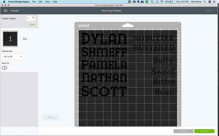 A screenshot of the cutting mat preview in Design Space.