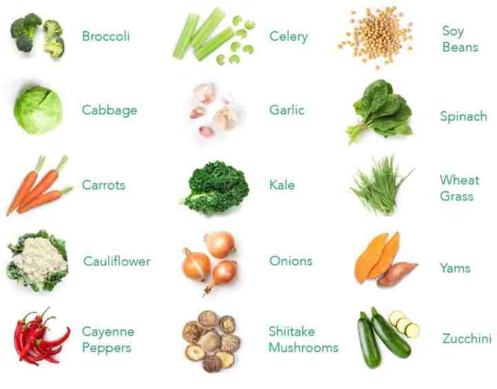 A graph of the veggies used in the Balance of Nature veggie capsules.