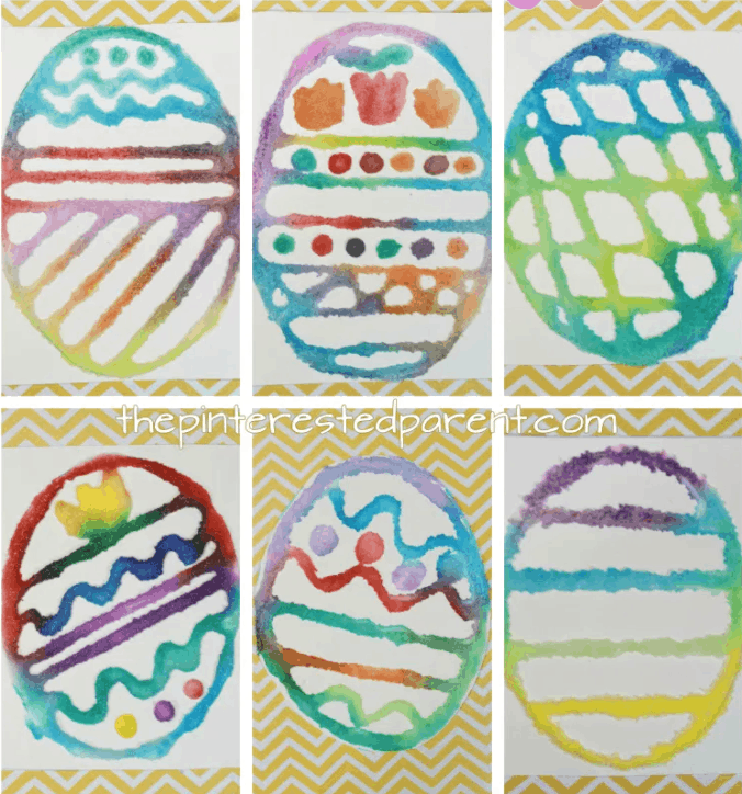 Easter Eggs made using glue and salt and then painted with water colors!