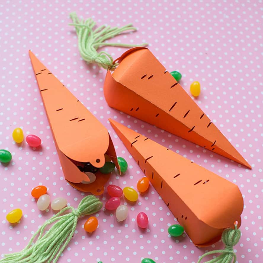 Treat boxes shaped like carrots.