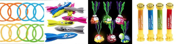 A collage of different toys you can dive for in the pool. Left to right -- Rings, Torpedos, Light up circles and diving sticks.
