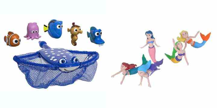 A collage of a stingray Finding Dory pool toy and mermaid figures.
