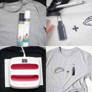 A step-by-step collage showing how to cut, weed and apply an Iron on Design onto a T-Shirt!