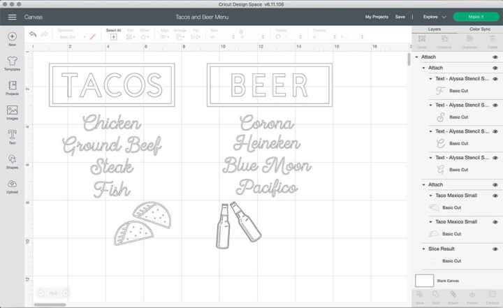 A screenshot of Design Space with the two menu designs.