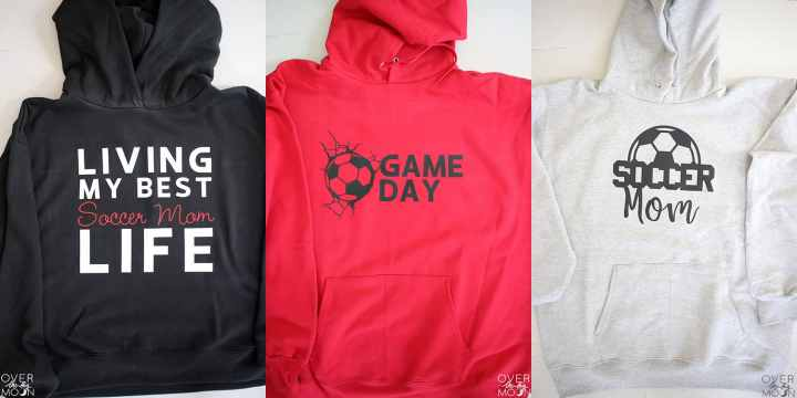 A collage of 3 Soccer Mom Hoodies made using hoodies and Iron on Vinyl.