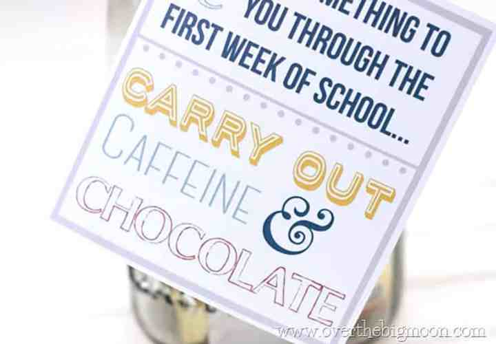 """A close up of a Gift Tag that says, """"A Little Something to """"C"""" You Through the First Week of School... Carry Out, Caffeine & Chocolate. The tag is attached to a mason jar that is filled with treats and a couple gift cards."""