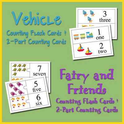 Fairy and Friends and Vehicle Counting Flash Cards and 2-Part