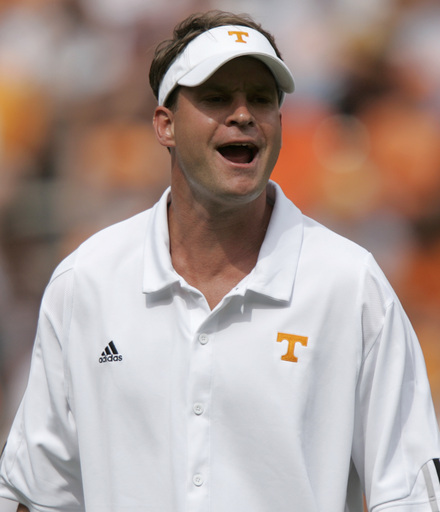 Kiffin throws a signature win on the resume with Saturday's Georgia upset. (AP Photo/Wade Payne)
