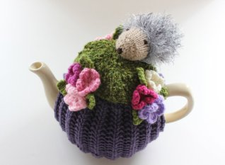 Tafferty Designs Elizabeth the Hedgehog gets ready for a garden party - Tea Cosy in Pure Wool - Size Medium